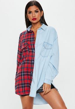 blue-stonewash-oversized-splice-tartan-check-denim-shirt (1)