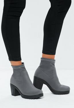 grey-chunky-sole-sock-ankle-boots