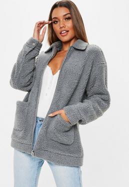 grey-oversized-borg-zip-through-jacket