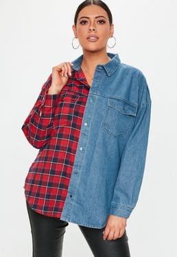 plus-size-denim-blue-check-shirt